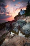 Solnedgång på Bass Harbor Lighthouse Royaltyfria Bilder