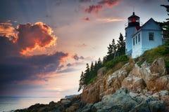 Solnedgång på Bass Harbor Lighthouse Royaltyfri Bild