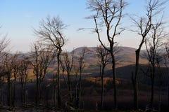 Solnedgång på berg Arkivbilder