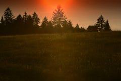 Solnedgång på berg Arkivfoto