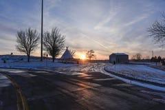 Solnedgång på besökaremitten av Colorado Fotografering för Bildbyråer