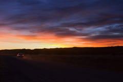 Solnedgång på Bosque del Apache NWR 12/2010 Arkivfoto