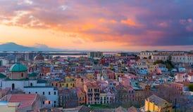 Solnedgång på Cagliari, Italien Fotografering för Bildbyråer