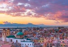 Solnedgång på Cagliari, Sardinia, Italien Arkivfoton