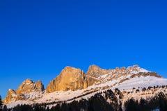 Solnedgång på Catinaccioen, Dolomite - Italien Royaltyfria Foton