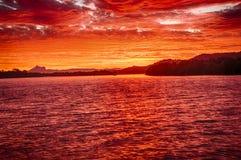 Solnedgång på Chinderah Arkivbilder