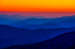 Solnedgång på Clingmans kupol Arkivfoto