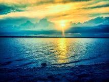 Solnedgång på Crescent Park royaltyfria bilder