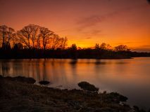 Solnedgång på dammet royaltyfria bilder