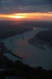 Solnedgång på Danuben Royaltyfria Foton
