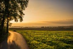 Solnedgång på de lantliga fälten arkivfoto