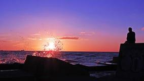 Solnedgång på den Östersjön kusten Arkivfoton