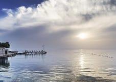 Solnedgång på den Aegean kusten Royaltyfri Foto