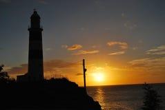 Solnedgång på den Albion fyren Royaltyfri Fotografi