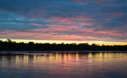 Solnedgång på den amazon rainforesten i den Madre de Dios regionen, Peru Arkivbild