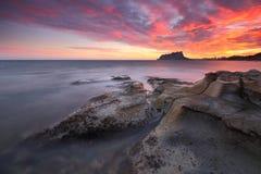 Solnedgång på den Baladrar stranden Alicante Arkivbilder