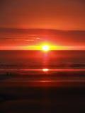 Solnedgång på den Blackpool stranden Royaltyfri Fotografi