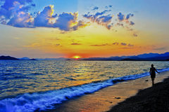 Solnedgång på den chalish kalkon Arkivbilder