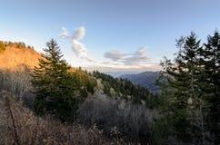 Solnedgång på den Cligmans kupolen på det rökiga berget Royaltyfri Bild