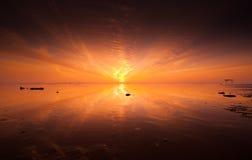 Solnedgång på den ensamma stranden Royaltyfri Foto
