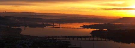 Solnedgång på den ferrol fjärden på sommar royaltyfria foton