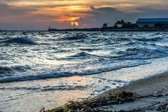 Solnedgång på den Florida stranden Royaltyfri Fotografi
