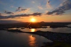 Solnedgång på den Jeju ön Arkivfoto