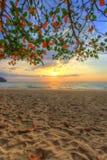 SOLNEDGÅNG PÅ den KHAO LAK STRANDEN, Phang Nga landskap, sydliga Thailand Arkivfoto