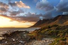 Solnedgång på den Kogel fjärden - Cape Town Fotografering för Bildbyråer