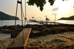 Solnedgång på den Kood ön thailand Arkivfoto