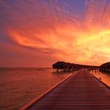 Solnedgång på den maldiviska stranden Royaltyfri Bild