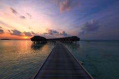 Solnedgång på den maldiviska stranden Fotografering för Bildbyråer