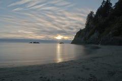 Solnedgång på den Moonstone stranden, nordliga CA Arkivfoto