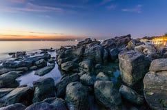 Solnedgång på den Phu Quoc östranden Fotografering för Bildbyråer