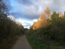 Solnedgång på den Pitsford behållaren Royaltyfria Bilder