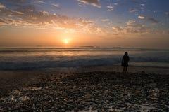 Solnedgång på den steniga stranden Royaltyfri Bild
