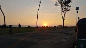 Solnedgång på den sydliga stranden Fotografering för Bildbyråer
