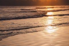 Solnedgång på den tropiska stranden i Sri Lanka - guld- färg vinkar havsvatten som är upplyst vid solen arkivfoton