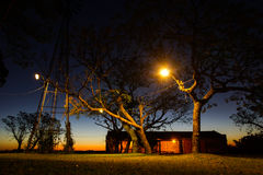 Solnedgång på den Uruguan ranchen Arkivfoto