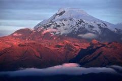 Solnedgång på den väldiga Volcano Cayambe i Ecuador Royaltyfri Fotografi