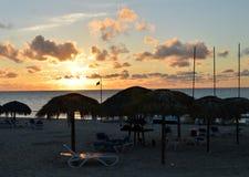 Solnedgång på den Varadero stranden, Kuba Arkivbilder