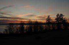Solnedgång på den Whidbey ön Arkivbild