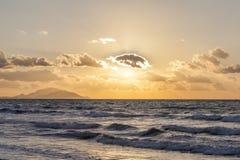 Solnedgång på det Aegean havet Royaltyfria Foton