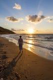 Solnedgång på det Aegean havet Royaltyfria Bilder