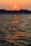 Solnedgång på det rumänska havet Arkivfoto