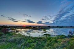 Solnedgång på det solitt Royaltyfri Foto