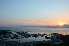 Solnedgång på det zhapoyangjiang porslinet Arkivbild