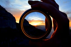 Solnedgång på Dolomites Arkivfoton