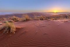Solnedgång på dyn arkivfoto