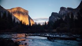 Solnedgång på El Capitan arkivfilmer